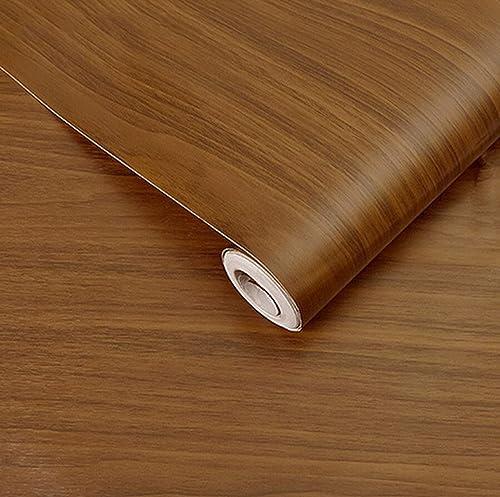 Wolpin Wall Stickers Wood Wallpaper 45 x 500 cm DIY Vinyl Shelf Liner Door Furniture Almirah Table Top Wardrobe Kitchen Cupboard Decal Brown