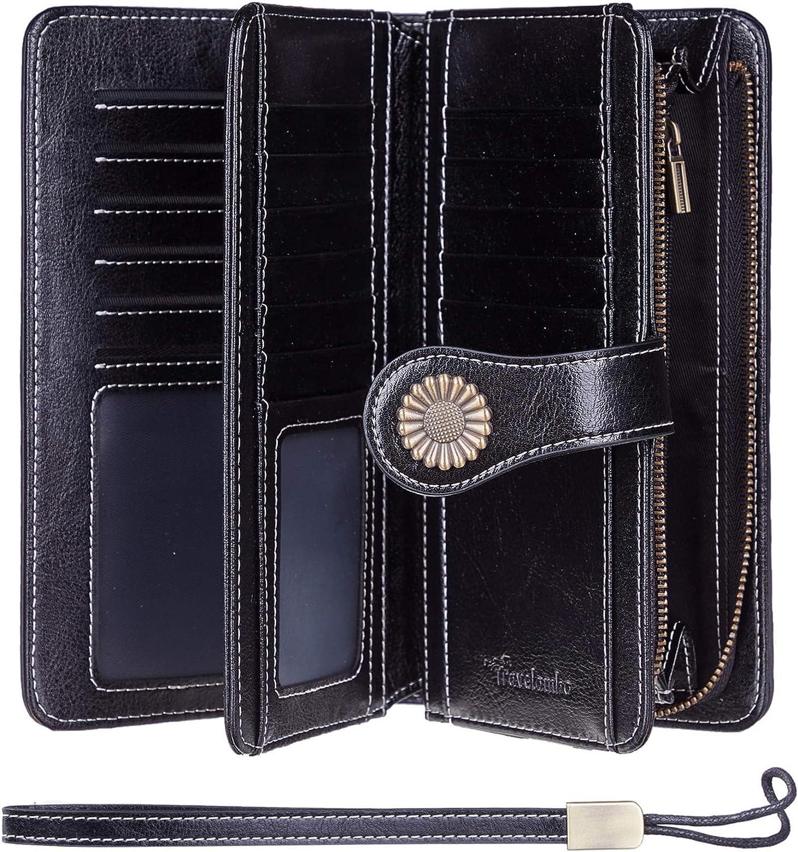Travelambo Womens Large Capacity RFID Blocking Genuine Leather Wallets(Black) at  Women's Clothing store