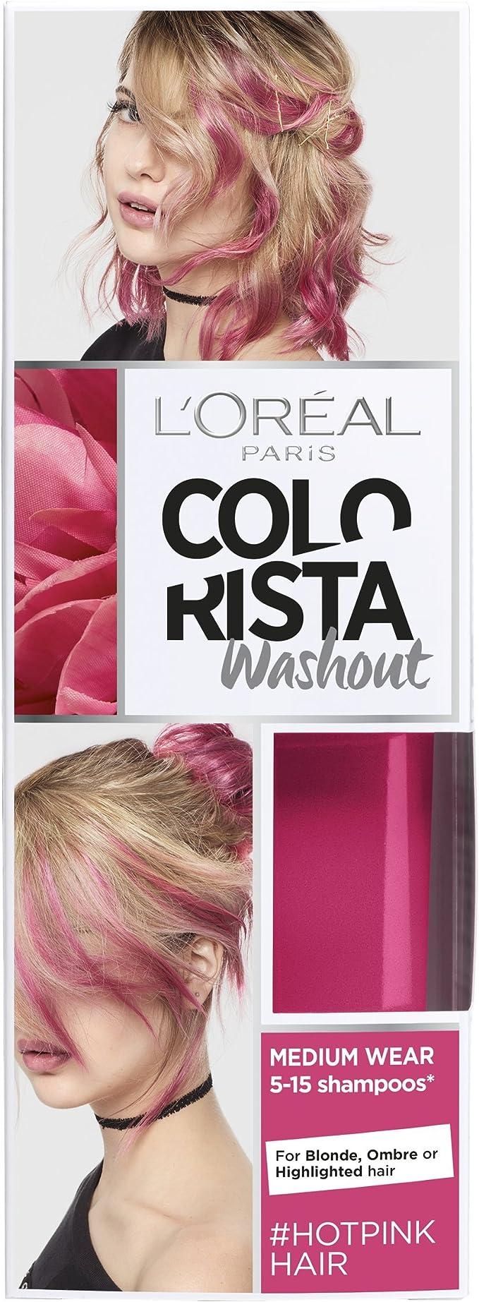 L Oreal colorista lavado caliente rosa neón semipermanente pelo, 80 ml