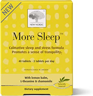 New Nordic More Sleep, 40 Tablets Natural Relaxing and Sleep Aid with L-Theanine and Chamomile
