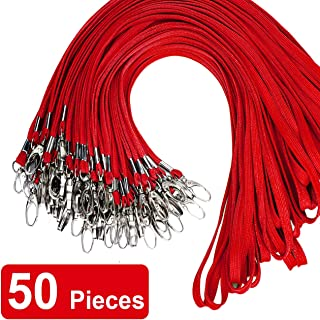 Red Bulk Lanyard Swivel Hooks Clips Cotton Neck Flat Woven Black Lanyards with Clip for Id Badges Key Chains,Lanyards 50 Pack 32-inch