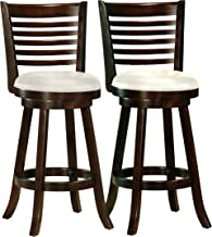 CorLiving DWG-919-B Woodgrove Cappuccino Stained Swivel Bar Height Barstool with Leatherette Seat, 29'' Seat Height, Set of 2