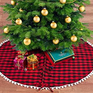 LBG Products Christmas Red and Black Buffalo Plaid/Check Tree Skirt mat with Pom Pom Trim, Double Layers .Decorations for Xmas Holiday (48inch in Diameter)