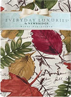 """Newbridge Autumn Leaf Contemporary Fall and Thanksgiving Vinyl Flannel Backed Tablecloth - Bold Seasonal Leaves Kitchen Dining Print Easy Care Tablecloth, 70"""" Round"""