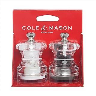 "Cole & Mason Grinder Button Mini Salt and Pepper Mill Set, 2.5"", Clear"