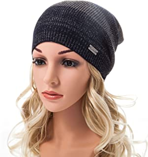 LADYBRO Beanie for Women Striped Angora - Silver Threads Knit Cap Womens Crochet Fashion Winter Hat