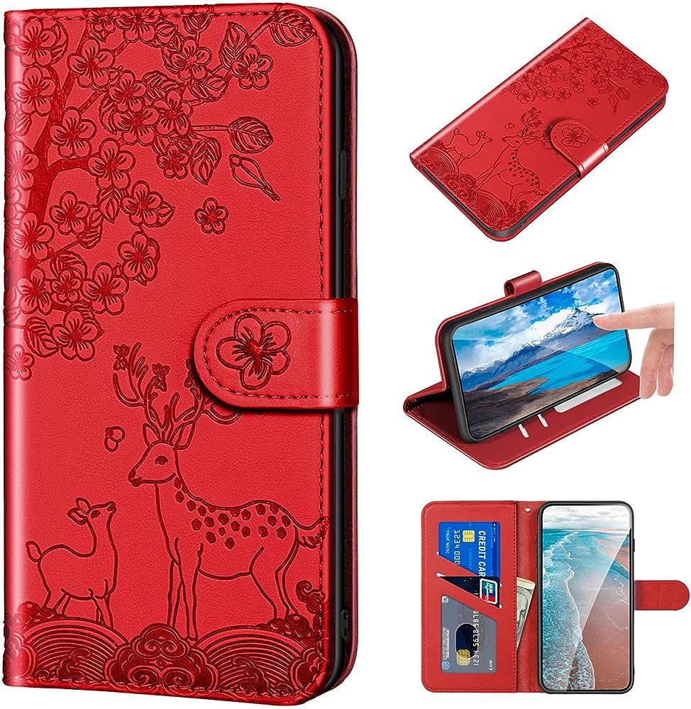 Norn custodia per iphone 12 mini pro portafoglio porta carte di credito in pelle sintetica MH-XL-12M-HONG
