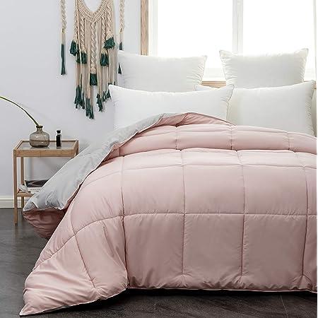 MOHAP Couette d'hiver 220x240cm Hypoallergénique Bicolore Rose + Gris Couette de Lit Réversible 2 Personnes Edredon