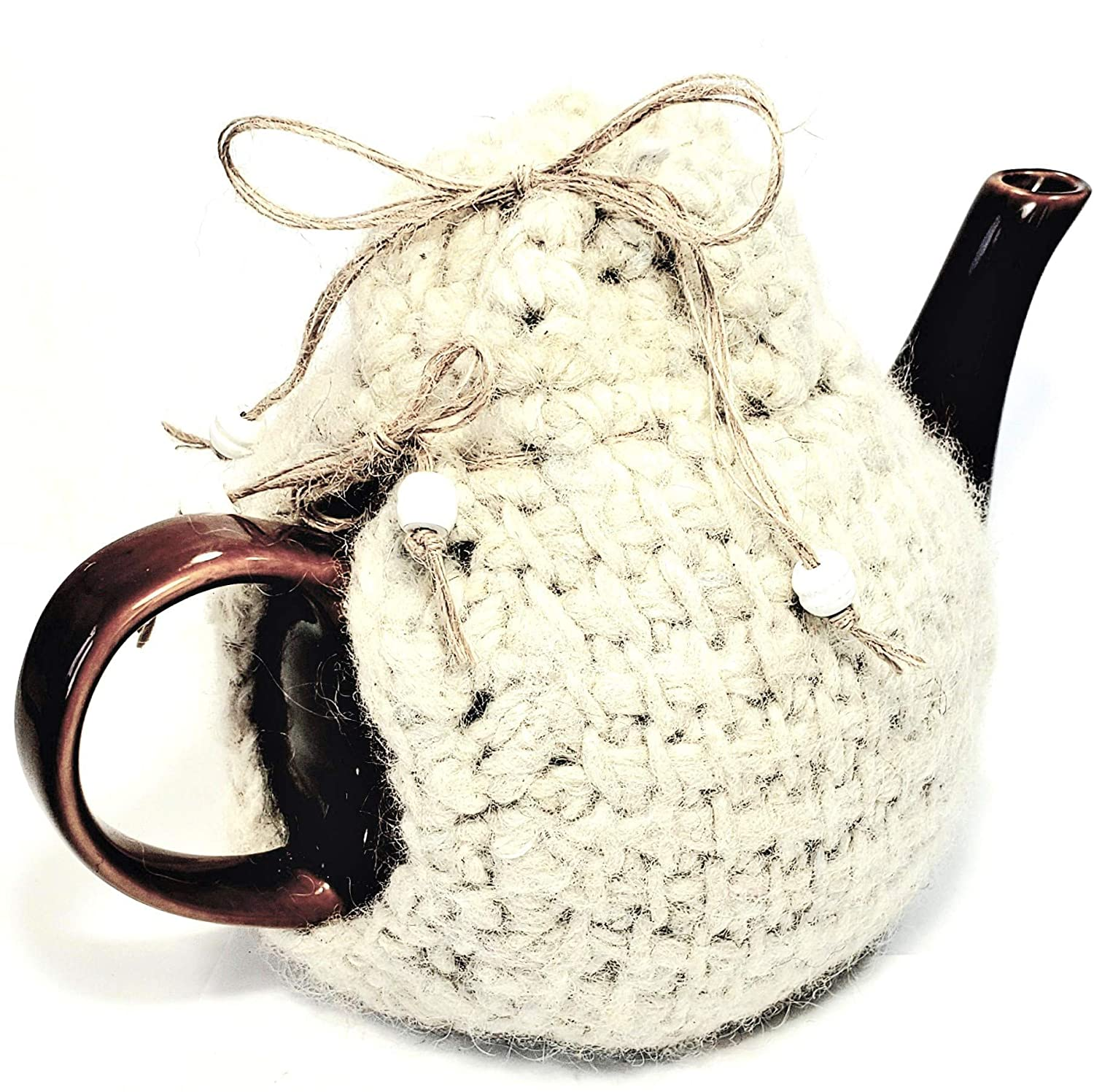 Teapot Cozy Seasonal Wrap Introduction Insulating Wool Max 54% OFF Cover- Country Farmhou Natural Knit