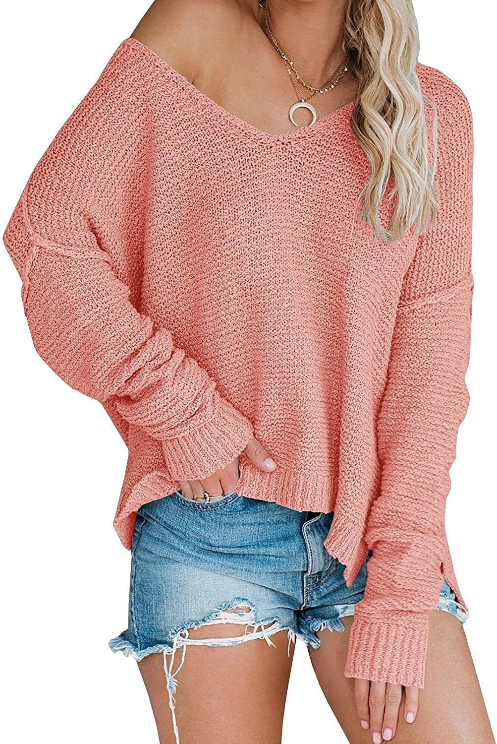 Women's Raleigh Mall Off Shoulder Knit Sweaters Neck V Oversized Popular Sleeve Long