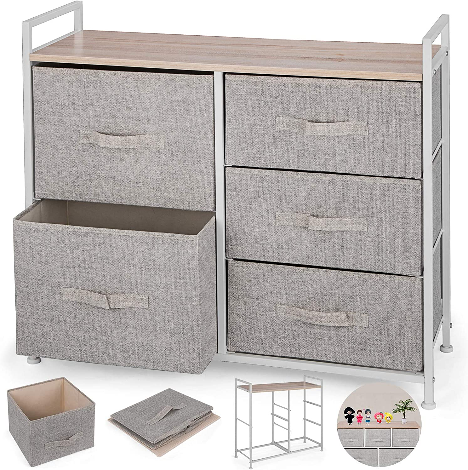Happybuy 5-Drawer Storage Organizer Unit with Fabric Bins Bedroom Play Room Entryway Hallway Closets Steel Frame MDF Top Dresser Storage Tower Fabric Cube Dresser Chest Cabinet (Beige Tall)
