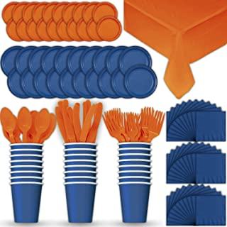 Paper Tableware Set for 24 - Blue & Orange - Dinner and Dessert Plates, Cups, Napkins, Cutlery (Spoons, Forks, Knives), and Tablecloths - Full Two-Tone Party Supplies Pack