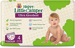 Happy Little Camper Ultra-Absorbent Hypoallergenic Natural Disposable Baby Diapers, Chlorine-Free Protection for Sensitive...