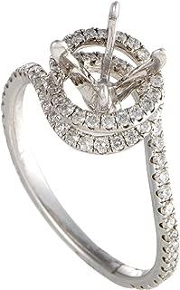 50ct 14K White Gold Diamond Spiral Engagement Ring Mounting