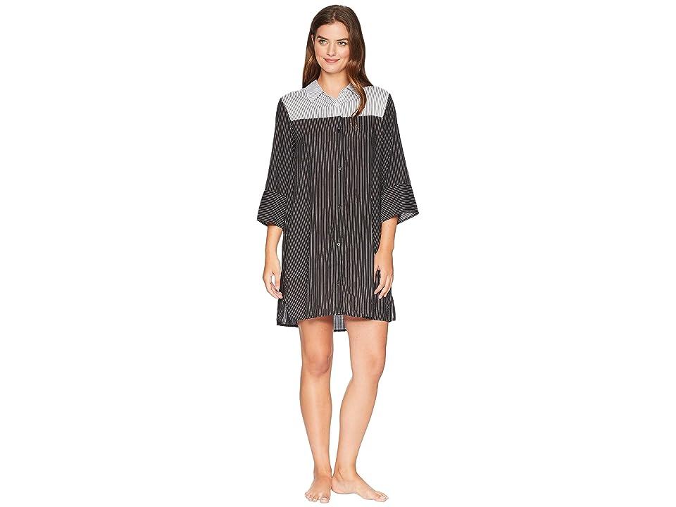 Donna Karan Striped Sleepshirt (Black Stripe) Women