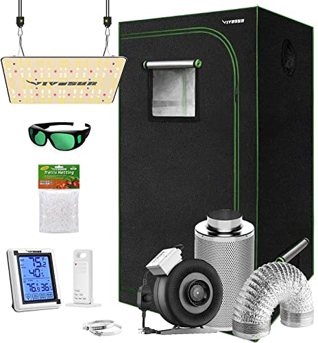 """discount VIVOSUN Grow Tent Complete Kit, 36""""x20""""x63"""" Growing Tent high quality with VS1000 Led Grow Light, Air Filtration Kit, Ducting Combo, Thermometer Humidity Monitor, Trellis online Netting outlet online sale"""