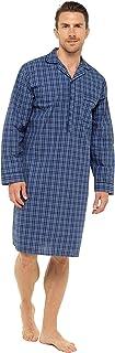 Mens 100% Cotton Lightweight Poplin Nightshirt Nightwear Size M-3XL Navy Pale Blue