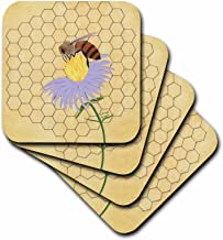 3dRose Honey Bee on Flower - Ceramic Tile Coasters, Set of 4 (CST_13577_3)