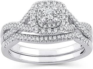 round diamond cushion halo split shank
