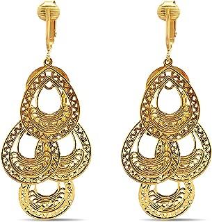 Aloha Earrings Dangle Clip On Earrings Gold-tone, Clip Earrings Gold, Clip Gold Earrings, Gold Clip Earrings for Women