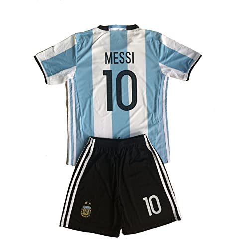 9ec6620c4 2016 Argentina Home Youth Messi  10 Kids Football Soccer Jersey   Short (9-