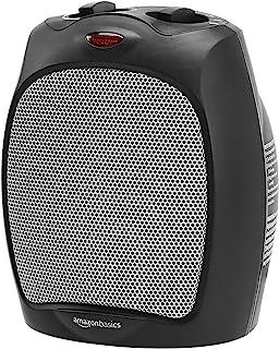 AmazonBasics 1500W Ceramic Personal Heater with Adjustable Thermostat, Black