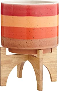 Rivet Mid-Century Modern Ceramic and Bamboo Planter Flower Pot with Stand,14.5