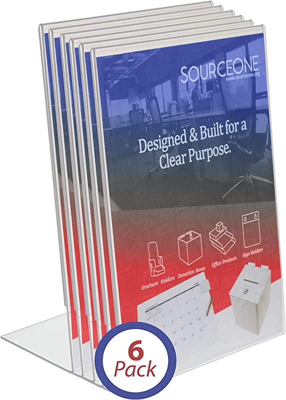 Source One 8 5 X 11 Inches Acrylic Slant Back Sign Holder Brochure Holder Pack Of 6 SB 85X11 6P