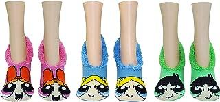 Powerpuff Girls Costume Socks Gifts (3 Pair) - (Women) Blossom, Bubbles, Buttercup Slip On Non Skid Socks - Fits Shoe Size: 4-10 (Ladies)
