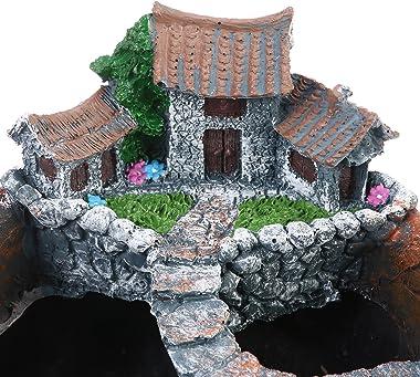OUNONA Planter Flower Plant Pots Fairy Garden Pot with Sweet House (Orange)