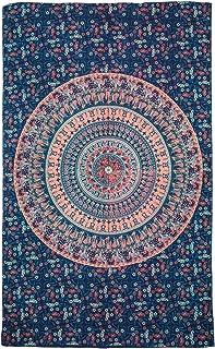 Nidhi Blue Elephant Mandala Twin Size Tapestry, Wall Hanging, Picnic Blanket, Beach Mat, Bedcover, sofa throw, stetains, B...