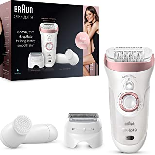Braun Silk-épil 9-880 Epilator for Long-Lasting Hair Removal Includes a Facial Cleansing Brush High Frequency Massage Cap ...