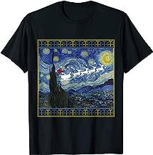 Van Gogh Starry Night Santa Sleigh Christmas T-Shirt