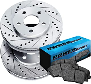 Front PowerSport Cross-Drilled Brake Rotors Disc and Ceramic Pads Cruze,Orlando