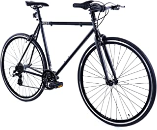 Golden Cycles Velo-7 Hybrid Bicycle, 7 Speed with Front & Rear Brake (Black, 52)