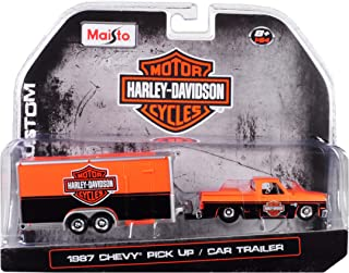 Maisto 1987 Chevrolet Pickup Truck with Enclose Car Trailer Orange & Black Harley Davidson 1/64 Die-Cast Model Car 15363-HD1