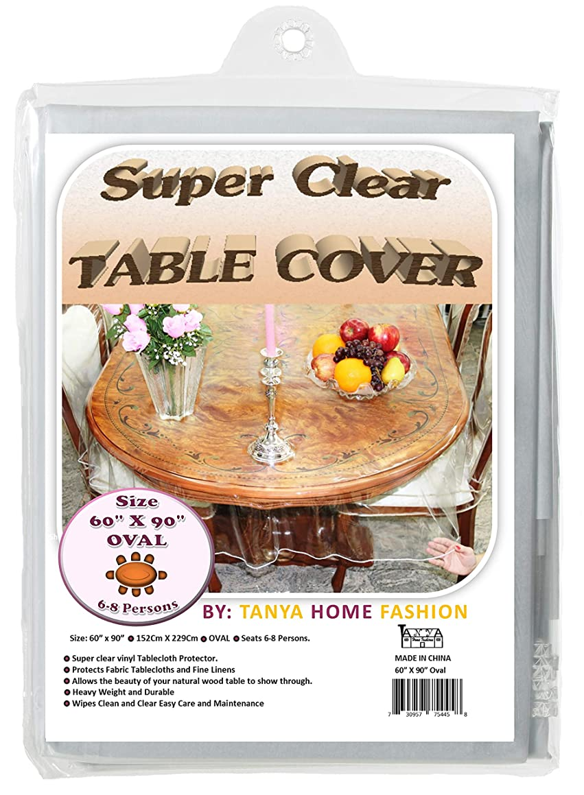 100% Vinyl Super Clear and Durable Tablecloth Protector Size 60