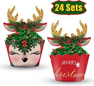 Palksky Christmas Deer Cupcake Wrappers with Antlers Cupcake Toppers/Elk Cupcake Decoration Set Reindeer Cake Supplies for Baby Shower Kids Birthday Xmas Party Favor