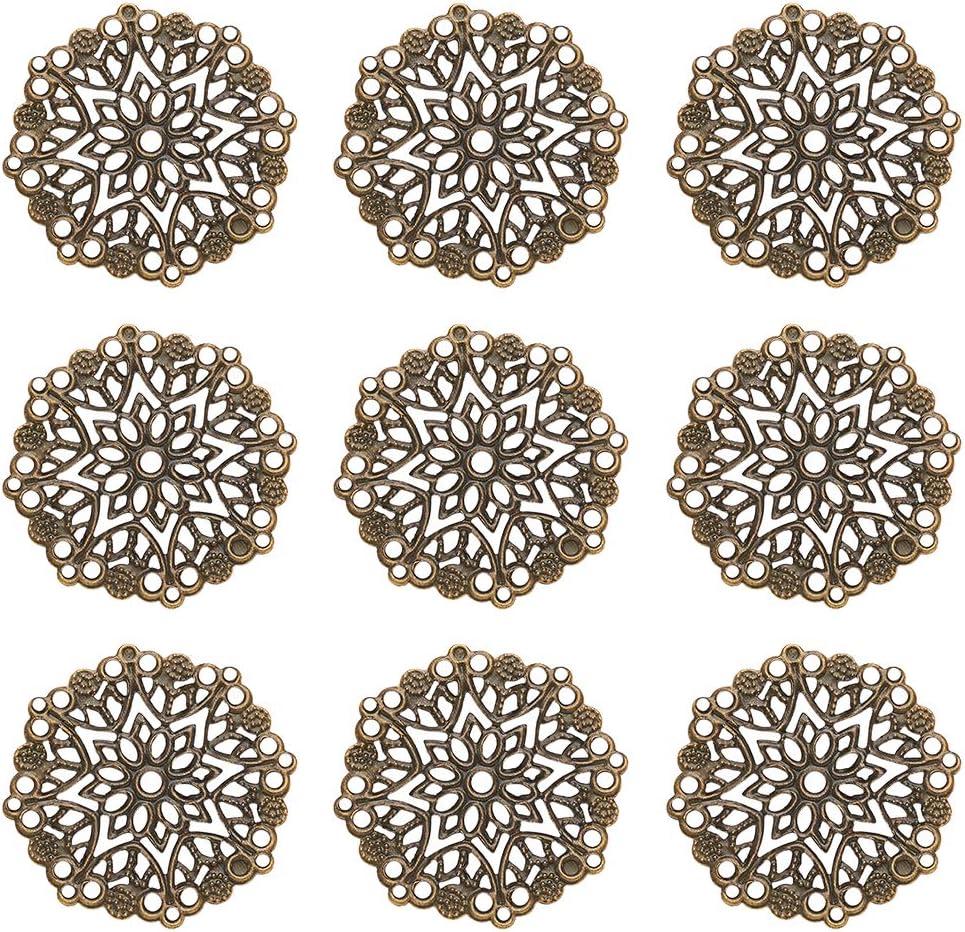 120pcs//set Iron Filigree Pendants and Links Etched Metal Embellishments Golden