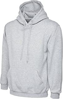 Uneek Mens Classic Plain Pullover Hooded Sweatshirt Hoodie Sweater (22 Colours)