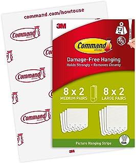 3M Command Montagestrips, 8 sets M & 8 sets L, Wit