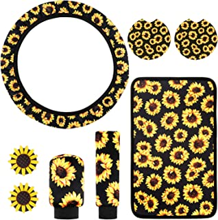 8 Pieces Sunflower Print Car Accessories, Sunflower Steering Wheel Cover, Gear Shift Cover, Handbrake Cover, Central Control Armrest Pad, Car Coasters and Air Vent Decorative Clips for Car Interior
