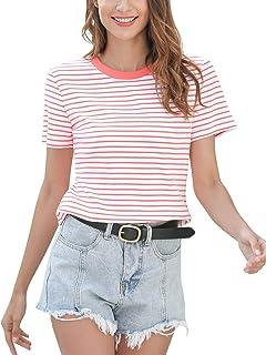 Women Short Sleeve Top T Shirt Crew Neck Cotton Tee Striped Casual Shirt Summer