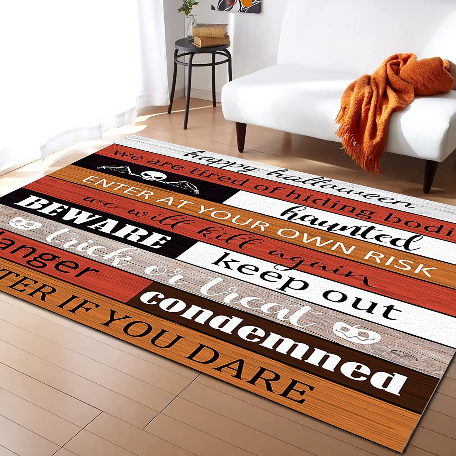Contemporary Non-Slip Area Rug Happy New products world's highest quality popular Retro Halloween Woo Colored Ranking TOP15