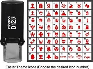 Printtoo Personalized Easter Theme Icons Round Rubber Stamp Self Inking Stamper 12 mm-Red