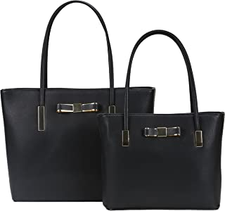 Darling's Bowknot Designer Faux Leather Carryall Tote - 2 Piece Shoulder Bag Set - Large & Small