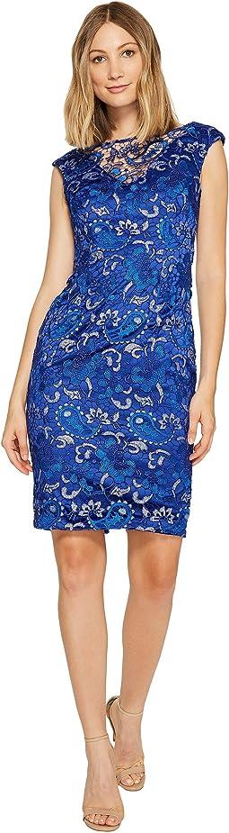 Sequin Lace Cap Sleeve Sheath Dress