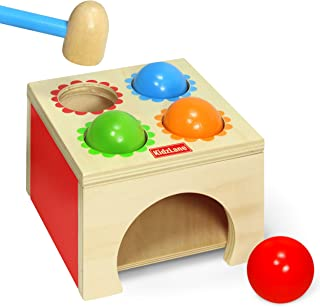 Kidzlane Toy Hammer and 4-Ball Wooden Play Set | Learn Colors, Counting, Building Ages 18M++