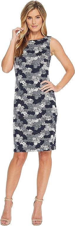 Jacquard Knit Sleeveless Sheath Dress