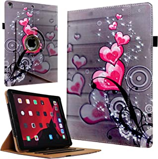 JYtrend Case for 2019 iPad 10.2, for iPad 7th Generation,360 Rotating Multi-Angle Viewing Stand Folio Smart Cover with Pocket Auto Wake Up/Sleep for Model A2197 A2198 A2199 A2200 (Heart Flower)